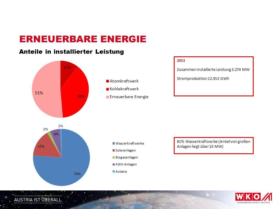 ERNEUERBARE ENERGIE Anteile in installierter Leistung 2013 Zusammen installierte Leistung 3.274 MW Stromproduktion 12.913 GWh 81% Wasserkraftwerke (Anteil von großen Anlagen liegt über 10 MW)