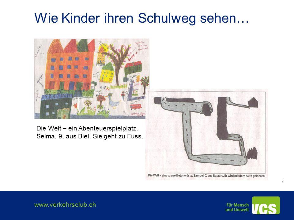 www.verkehrsclub.ch 3 Der Schulweg in Zahlen 1,6 km - durchschnittliche Schulwegdistanz 2/3 weniger als 1 km 11 Minuten – durchschnittliche Schulwegdauer 2/3 weniger als 10 Minuten 50% der Kinder - Rückkehr über Mittag