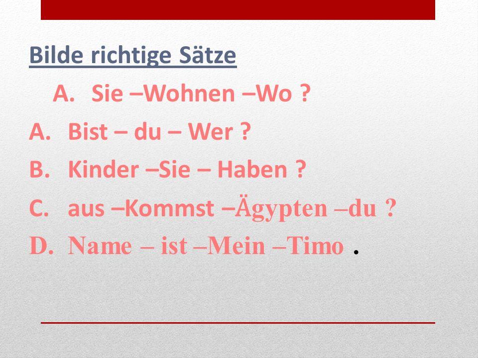 Bilde richtige Sätze A.Sie –Wohnen –Wo . A.Bist – du – Wer .