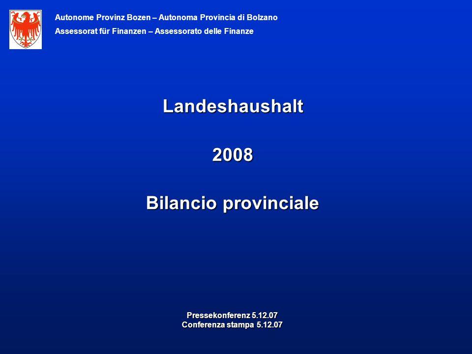 Pressekonferenz 5.12.07 Conferenza stampa 5.12.07 Landeshaushalt2008 Bilancio provinciale Autonome Provinz Bozen – Autonoma Provincia di Bolzano Assessorat für Finanzen – Assessorato delle Finanze