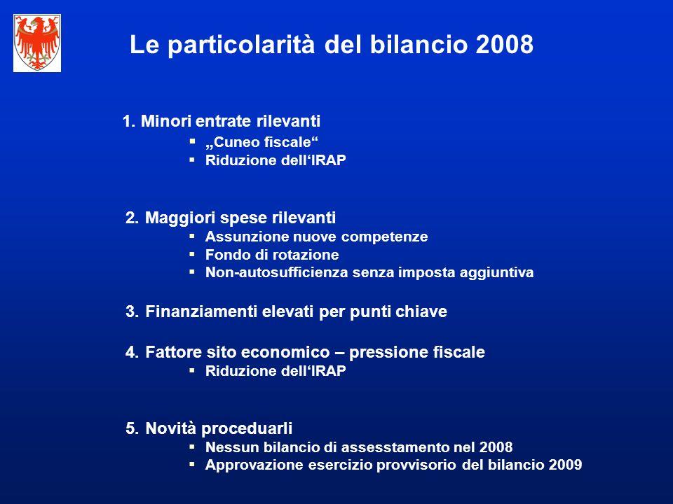 Le particolarità del bilancio 2008 1.