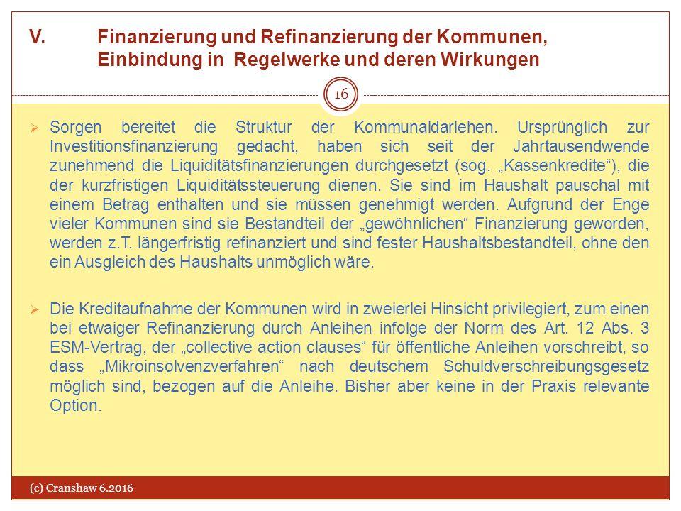 V. Finanzierung und Refinanzierung der Kommunen, Einbindung in Regelwerke und deren Wirkungen (c) Cranshaw 6.2016 16  Sorgen bereitet die Struktur de