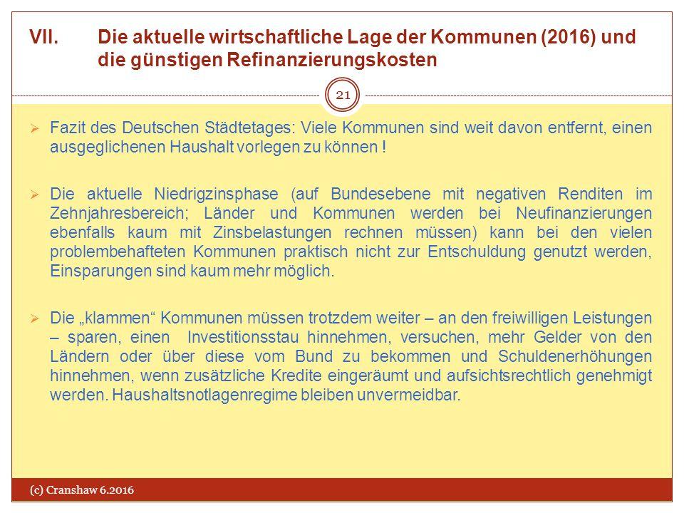 VII. Die aktuelle wirtschaftliche Lage der Kommunen (2016) und die günstigen Refinanzierungskosten (c) Cranshaw 6.2016 21  Fazit des Deutschen Städte
