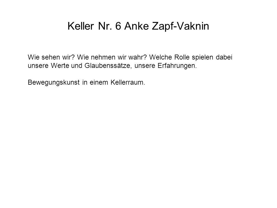 Keller Nr. 6 Anke Zapf-Vaknin Wie sehen wir? Wie nehmen wir wahr? Welche Rolle spielen dabei unsere Werte und Glaubenssätze, unsere Erfahrungen. Beweg