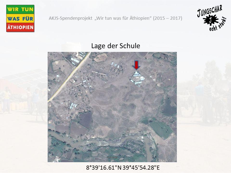 """Lage der Schule 8°39 16.61 N 39°45 54.28 E AKJS-Spendenprojekt """"Wir tun was für Äthiopien (2015 – 2017)"""