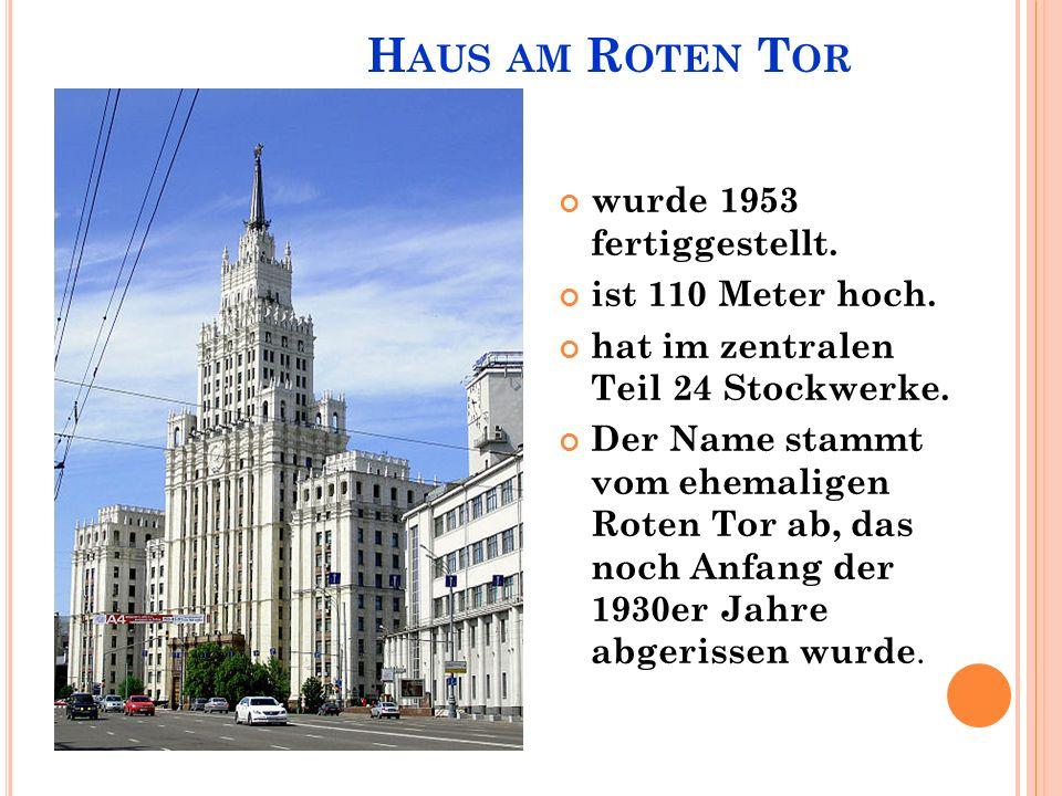 H AUS AM R OTEN T OR wurde 1953 fertiggestellt. ist 110 Meter hoch.
