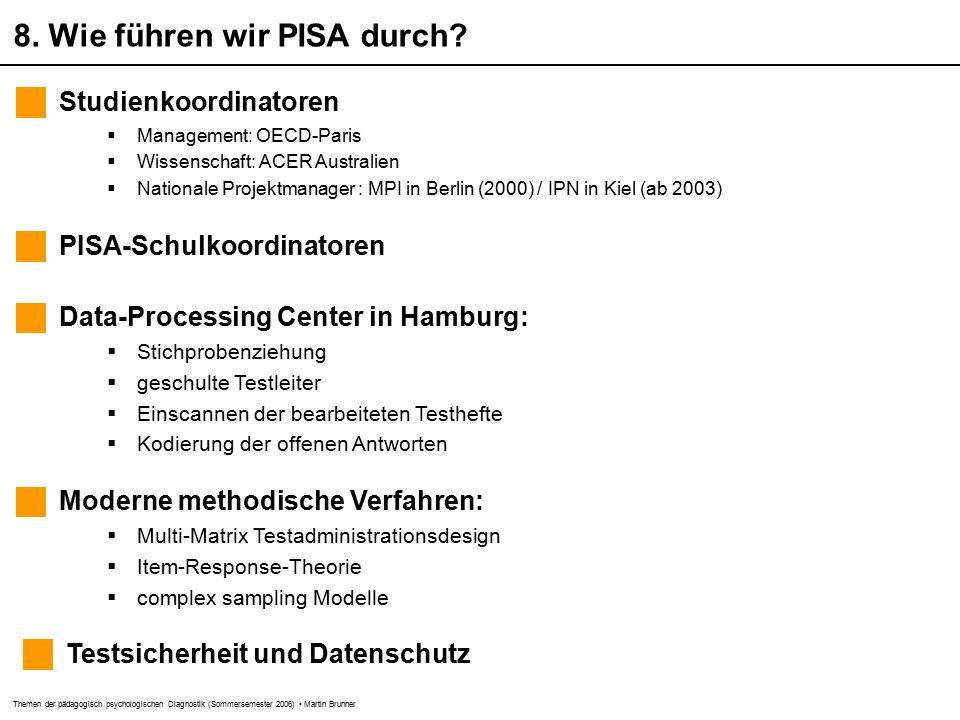 Themen der pädagogisch psychologischen Diagnostik (Sommersemester 2006) Martin Brunner 8.