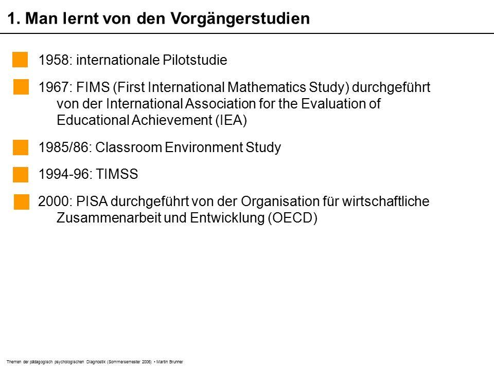 Themen der pädagogisch psychologischen Diagnostik (Sommersemester 2006) Martin Brunner 1.
