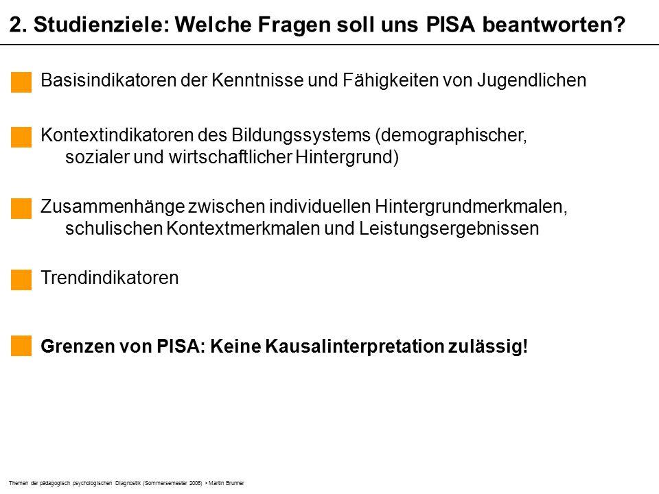 Themen der pädagogisch psychologischen Diagnostik (Sommersemester 2006) Martin Brunner 2.