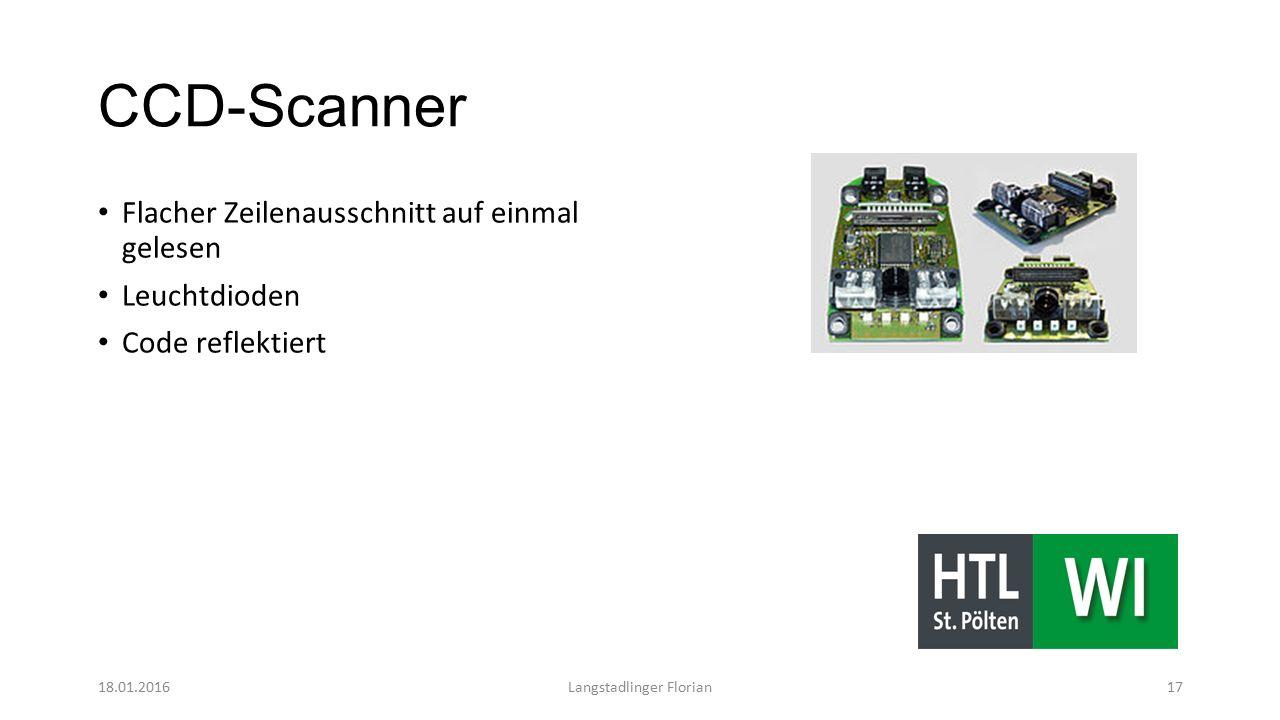 CCD-Scanner Flacher Zeilenausschnitt auf einmal gelesen Leuchtdioden Code reflektiert 18.01.2016Langstadlinger Florian17