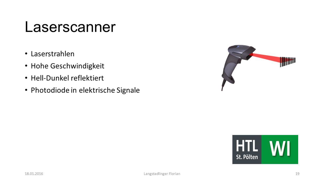 Laserscanner Laserstrahlen Hohe Geschwindigkeit Hell-Dunkel reflektiert Photodiode in elektrische Signale 18.01.2016Langstadlinger Florian19