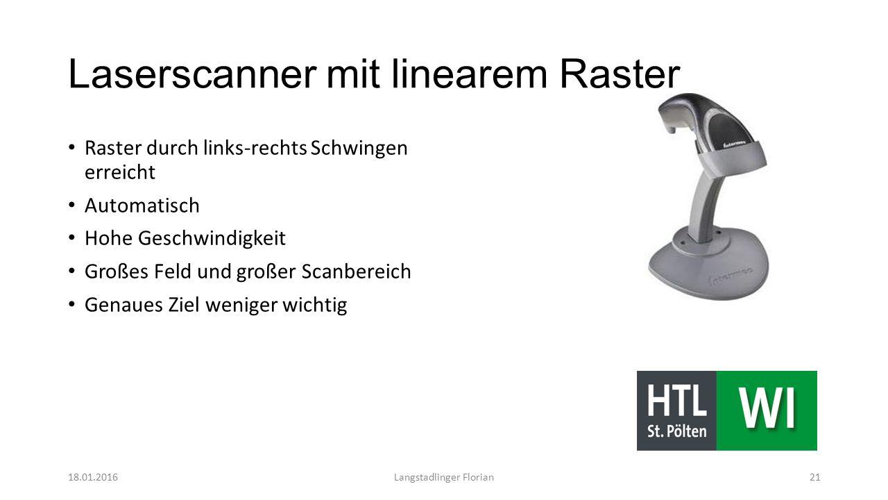 Laserscanner mit linearem Raster Raster durch links-rechts Schwingen erreicht Automatisch Hohe Geschwindigkeit Großes Feld und großer Scanbereich Genaues Ziel weniger wichtig 18.01.2016Langstadlinger Florian21
