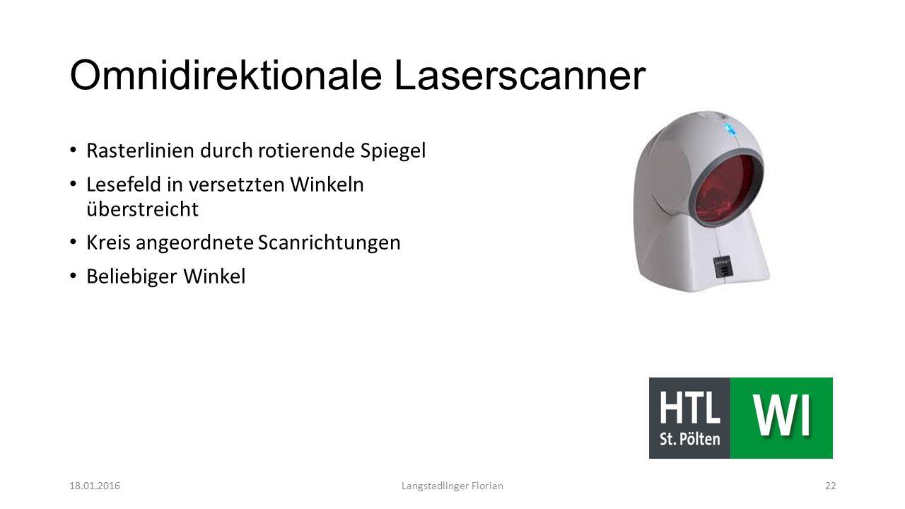 Omnidirektionale Laserscanner Rasterlinien durch rotierende Spiegel Lesefeld in versetzten Winkeln überstreicht Kreis angeordnete Scanrichtungen Beliebiger Winkel 18.01.2016Langstadlinger Florian22
