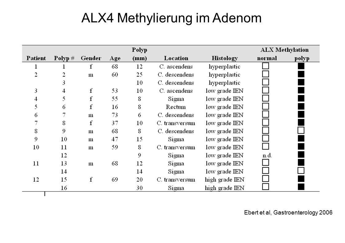 Ebert et al, Gastroenterology 2006 ALX4 Methylierung im Adenom