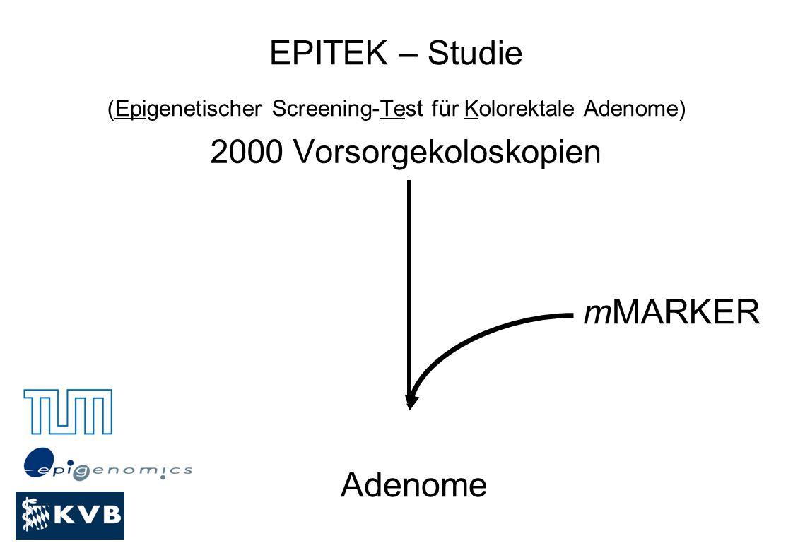 EPITEK – Studie (Epigenetischer Screening-Test für Kolorektale Adenome) 2000 Vorsorgekoloskopien Adenome mMARKER
