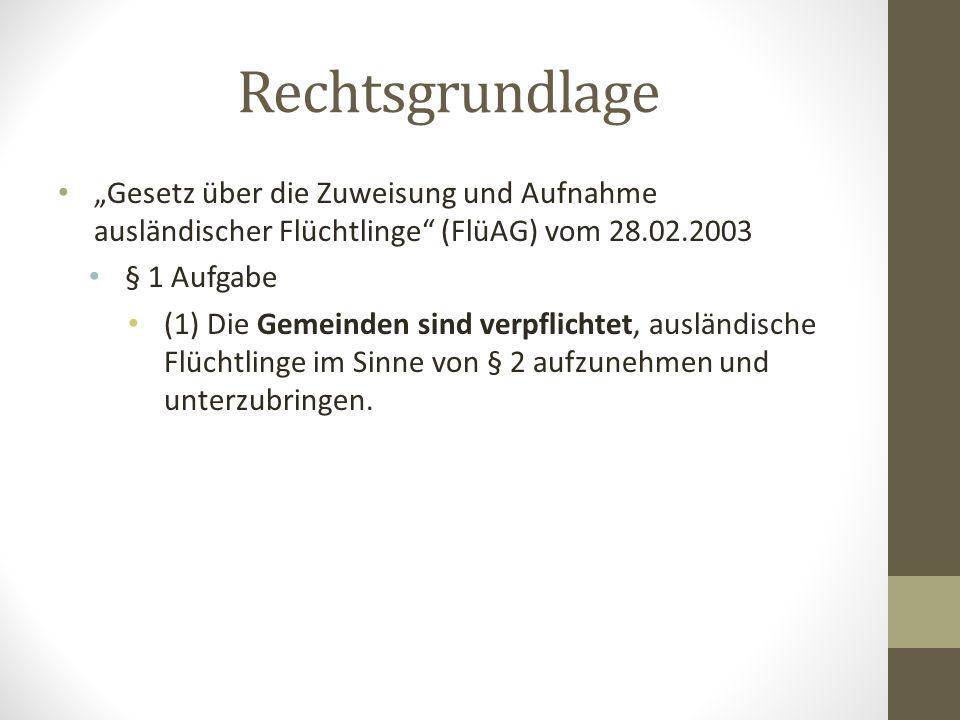 """Rechtsgrundlage """"Gesetz über die Zuweisung und Aufnahme ausländischer Flüchtlinge (FlüAG) vom 28.02.2003 § 1 Aufgabe (1) Die Gemeinden sind verpflichtet, ausländische Flüchtlinge im Sinne von § 2 aufzunehmen und unterzubringen."""