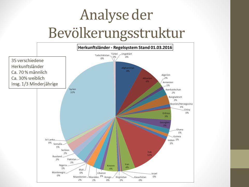 Analyse der Bevölkerungsstruktur 35 verschiedene Herkunftsländer Ca.