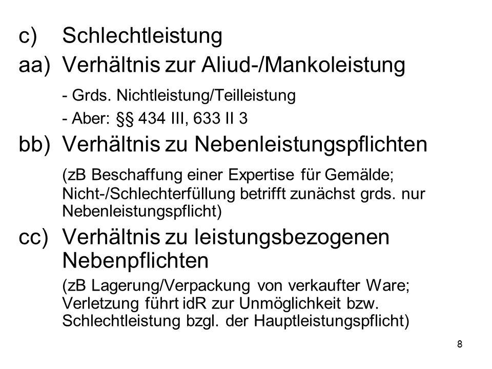 8 c)Schlechtleistung aa)Verhältnis zur Aliud-/Mankoleistung - Grds.