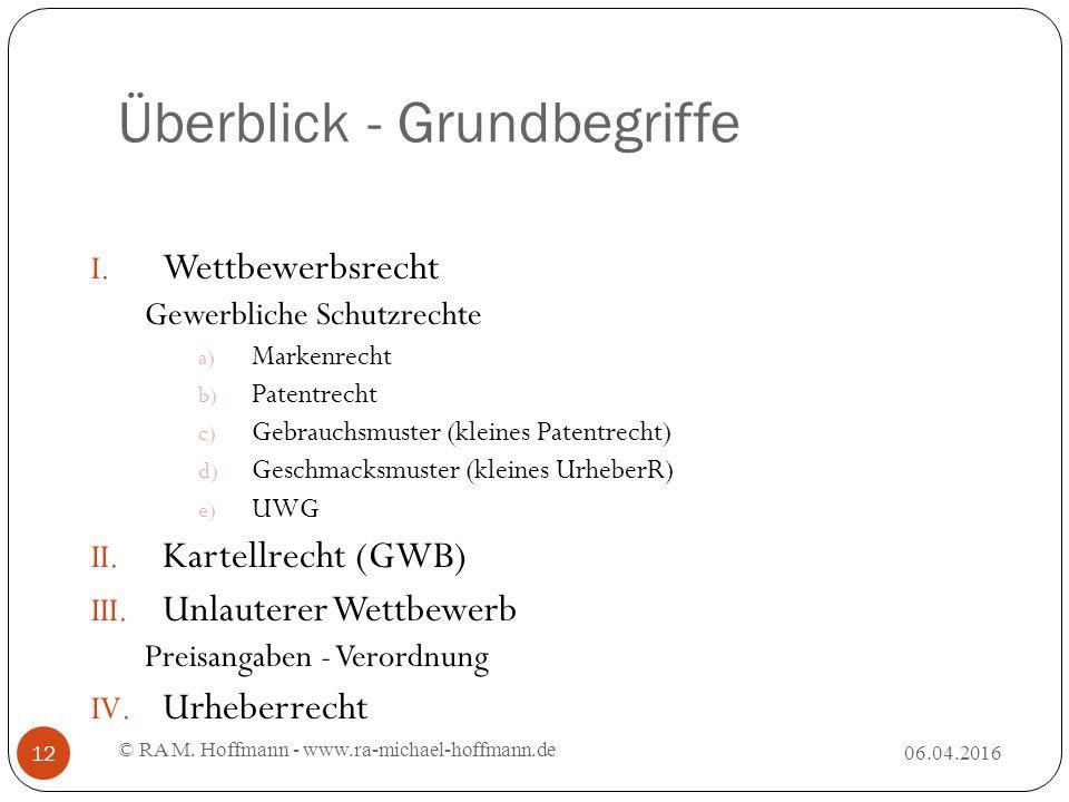 Überblick - Grundbegriffe 06.04.2016 © RA M. Hoffmann - www.ra-michael-hoffmann.de 12 I.