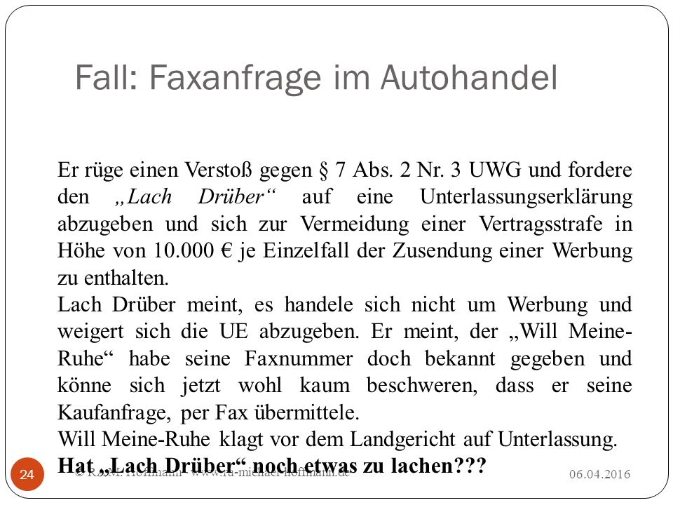 Fall: Faxanfrage im Autohandel © RA M.
