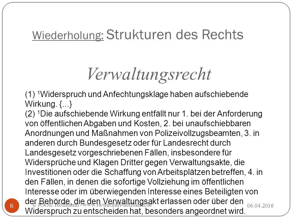 Wiederholung: Strukturen des Rechts 06.04.2016 © RA M.