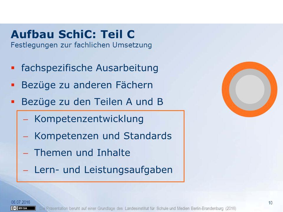 Die Präsentation beruht auf einer Grundlage des Landesinstitut für Schule und Medien Berlin-Brandenburg (2016) Aufbau SchiC: Teil C Festlegungen zur f