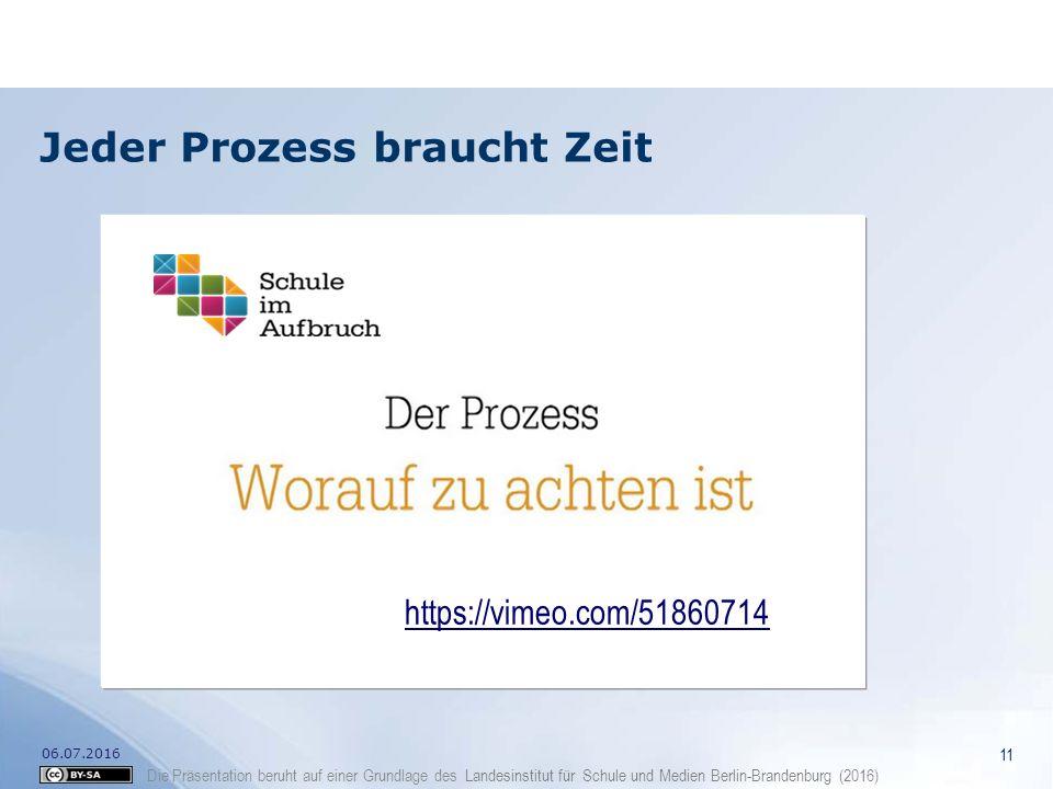 Die Präsentation beruht auf einer Grundlage des Landesinstitut für Schule und Medien Berlin-Brandenburg (2016) Jeder Prozess braucht Zeit 11 06.07.201