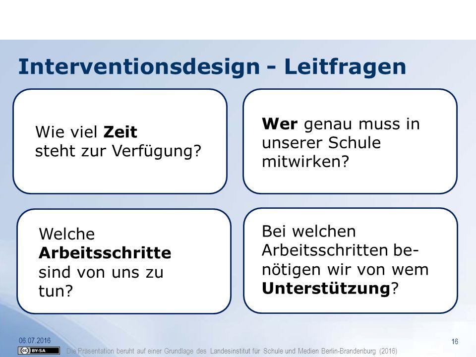 Die Präsentation beruht auf einer Grundlage des Landesinstitut für Schule und Medien Berlin-Brandenburg (2016) Interventionsdesign - Leitfragen 16 06.