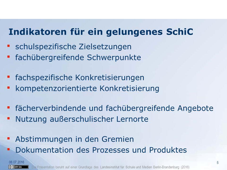 Die Präsentation beruht auf einer Grundlage des Landesinstitut für Schule und Medien Berlin-Brandenburg (2016) Aufbau des Schulinternen Curriculums 6 06.07.2016 AB C Zielsetzungen der Schule fachübergreifende Festlegungen fachbezogene Festlegungen Synthese + +