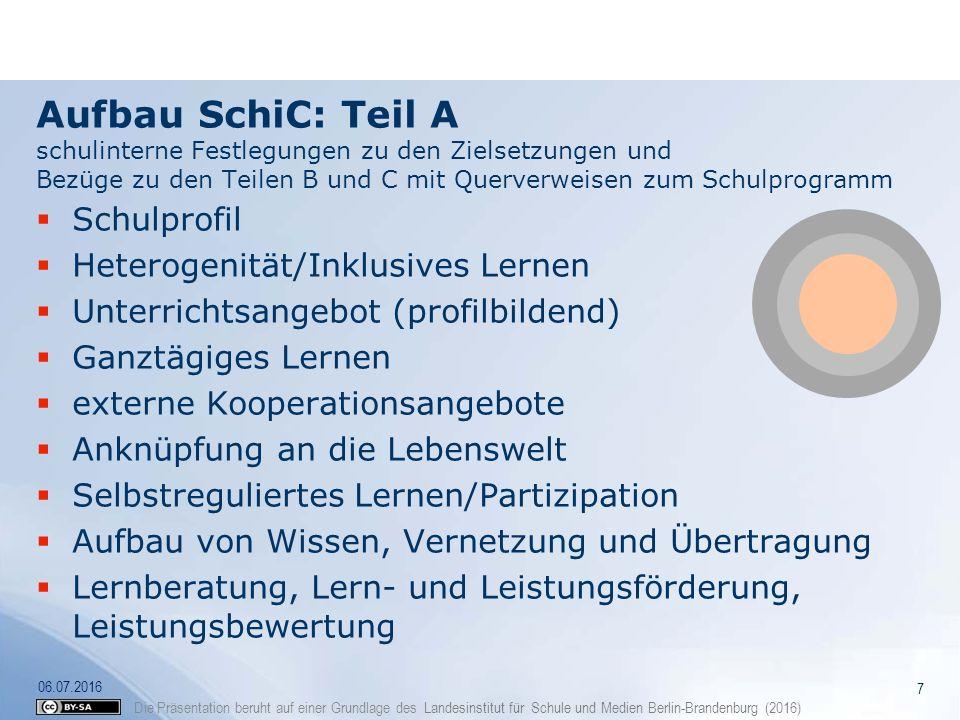 Die Präsentation beruht auf einer Grundlage des Landesinstitut für Schule und Medien Berlin-Brandenburg (2016) Aufbau SchiC: Teil A schulinterne Festl