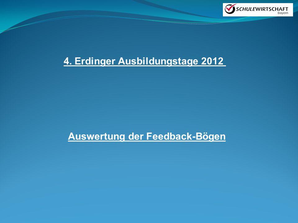 4. Erdinger Ausbildungstage 2012 Auswertung der Feedback-Bögen