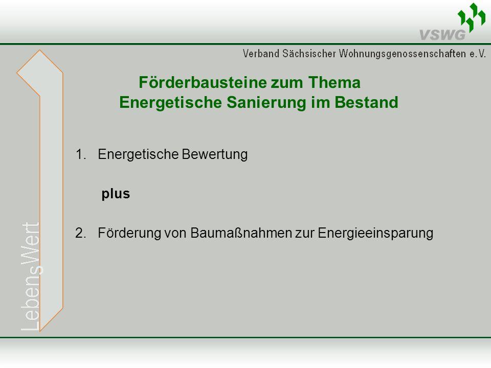 Förderbausteine zum Thema Energetische Sanierung im Bestand 1. Energetische Bewertung plus 2. Förderung von Baumaßnahmen zur Energieeinsparung