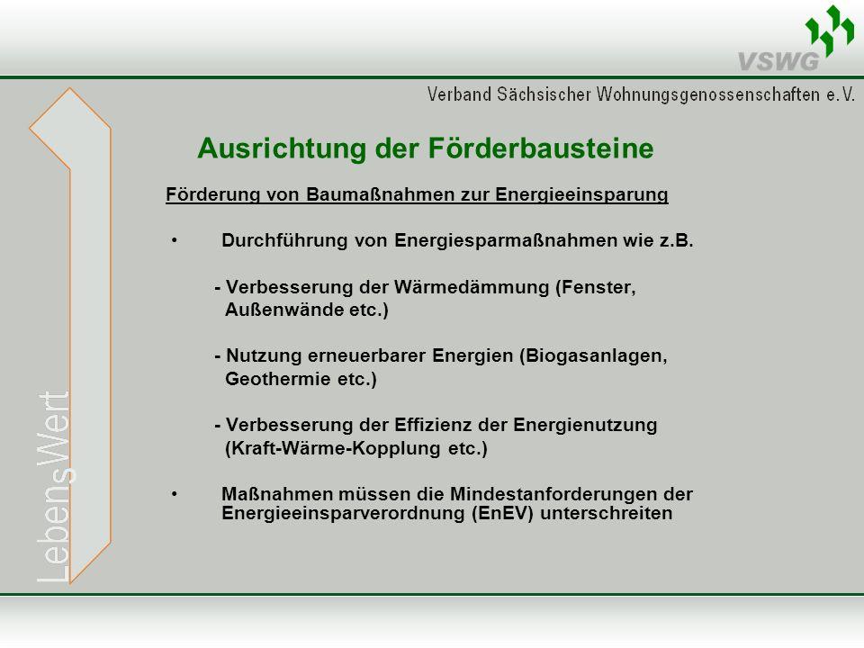 Ausrichtung der Förderbausteine Förderung von Baumaßnahmen zur Energieeinsparung Durchführung von Energiesparmaßnahmen wie z.B. - Verbesserung der Wär
