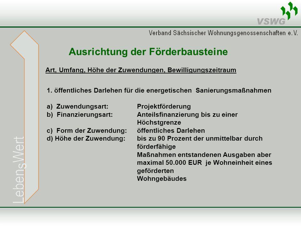 Ausrichtung der Förderbausteine Art, Umfang, Höhe der Zuwendungen, Bewilligungszeitraum 1.