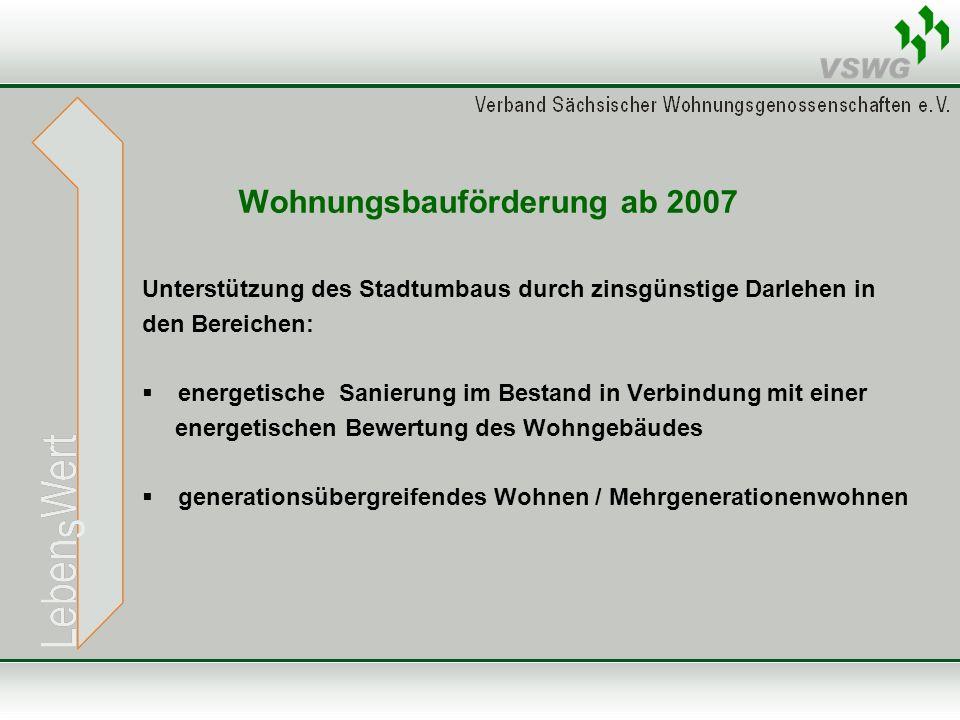 Wohnungsbauförderung ab 2007 Unterstützung des Stadtumbaus durch zinsgünstige Darlehen in den Bereichen:  energetische Sanierung im Bestand in Verbin