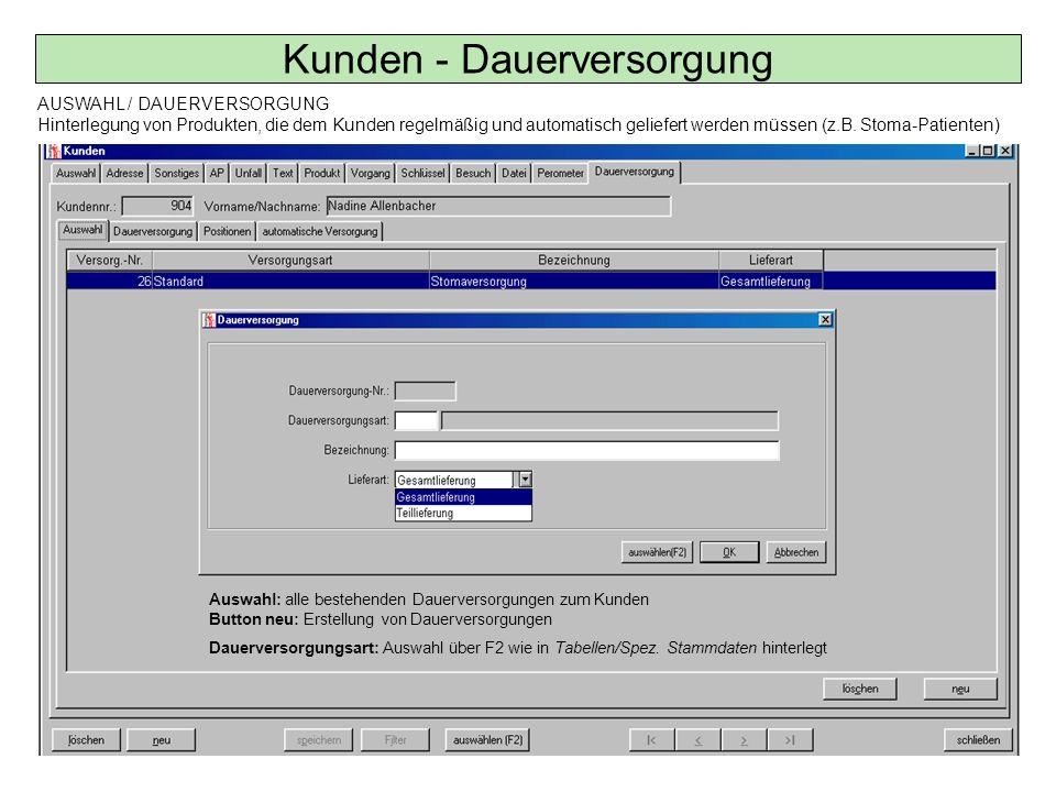Auswahl: alle bestehenden Dauerversorgungen zum Kunden Button neu: Erstellung von Dauerversorgungen Dauerversorgungsart: Auswahl über F2 wie in Tabell