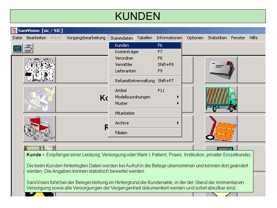 Kunden – Datei (Scannen) Zum Scannen muss das entsprechende Format ausgewählt werden.