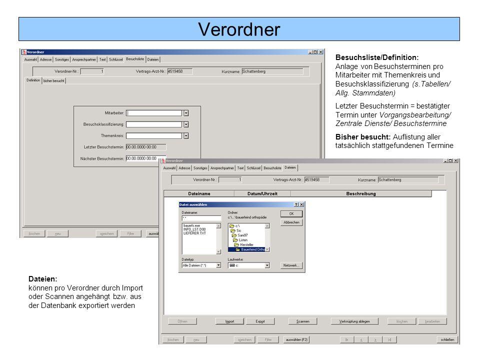 Verordner Besuchsliste/Definition: Anlage von Besuchsterminen pro Mitarbeiter mit Themenkreis und Besuchsklassifizierung (s.Tabellen/ Allg. Stammdaten