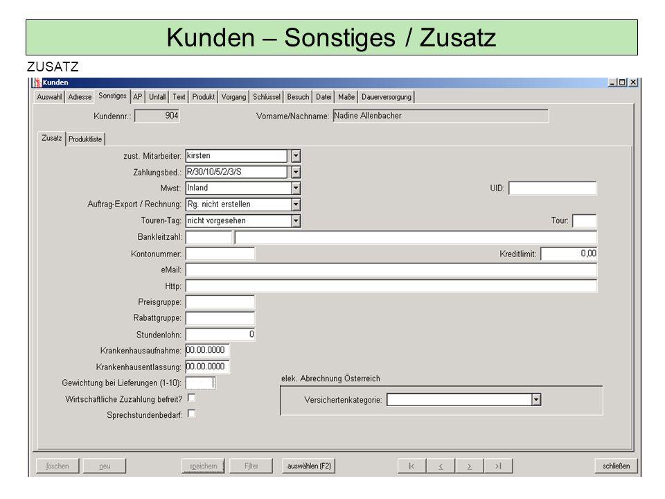 Kunden – Schlüssel / Vertriebsaktionen statistische Zwecke und Suchkriterium; z.B.