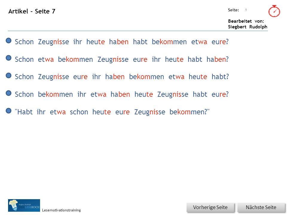 Übungsart: Seite: Bearbeitet von: Siegbert Rudolph Lesemotivationstraining 10 Du bist der Lehrer – korrigiere die Fehler.