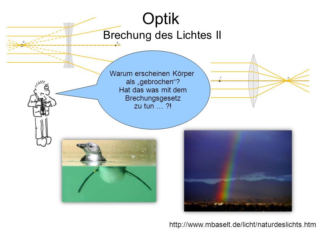 """Optik Brechung des Lichtes II Warum erscheinen Körper als """"gebrochen""""? Hat das was mit dem Brechungsgesetz zu tun … ?! http://www.mbaselt.de/licht/nat"""