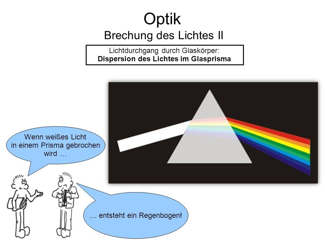 Optik Brechung des Lichtes II Lichtdurchgang durch Glaskörper: Dispersion des Lichtes im Glasprisma Wenn weißes Licht in einem Prisma gebrochen wird …