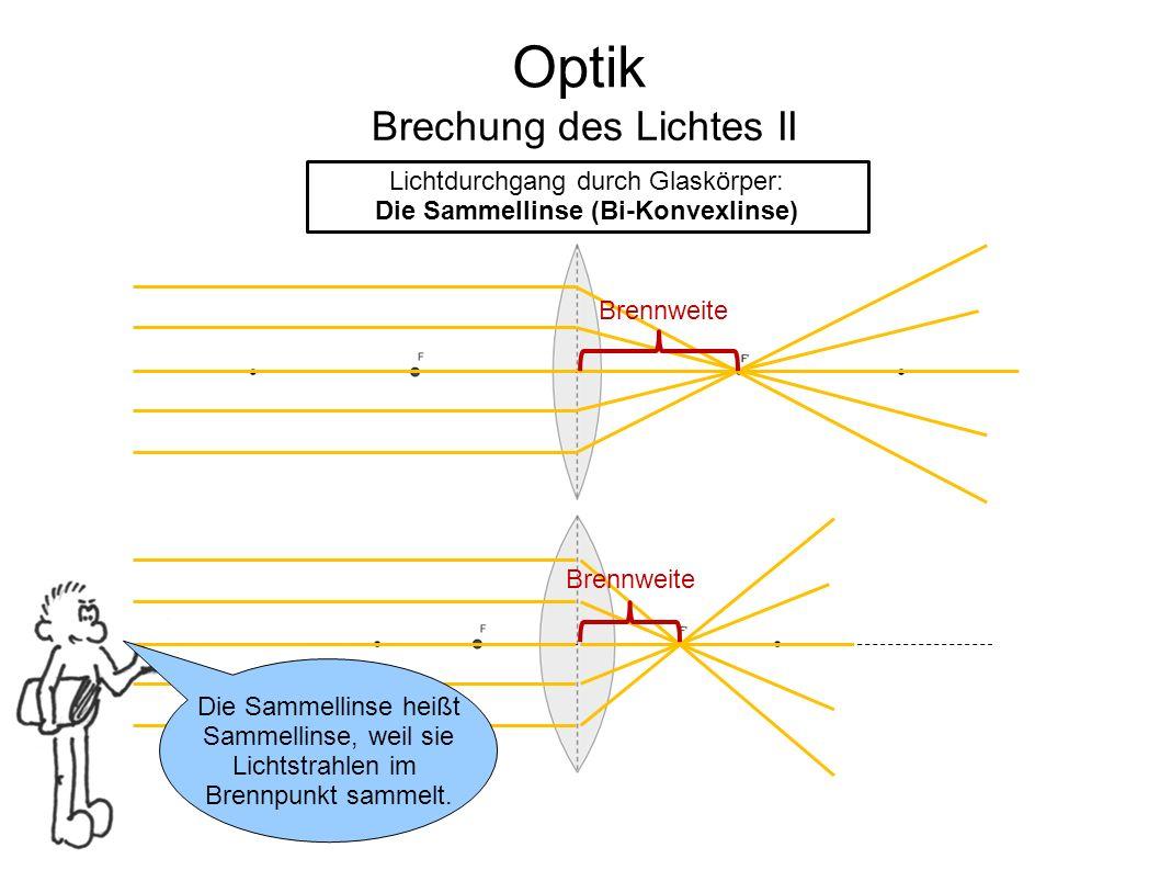 Optik Brechung des Lichtes II Lichtdurchgang durch Glaskörper: Die Sammellinse (Bi-Konvexlinse) Die Sammellinse heißt Sammellinse, weil sie Lichtstrah