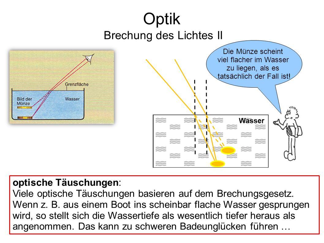 Wasser Optik Brechung des Lichtes II Die Münze scheint viel flacher im Wasser zu liegen, als es tatsächlich der Fall ist! optische Täuschungen: Viele