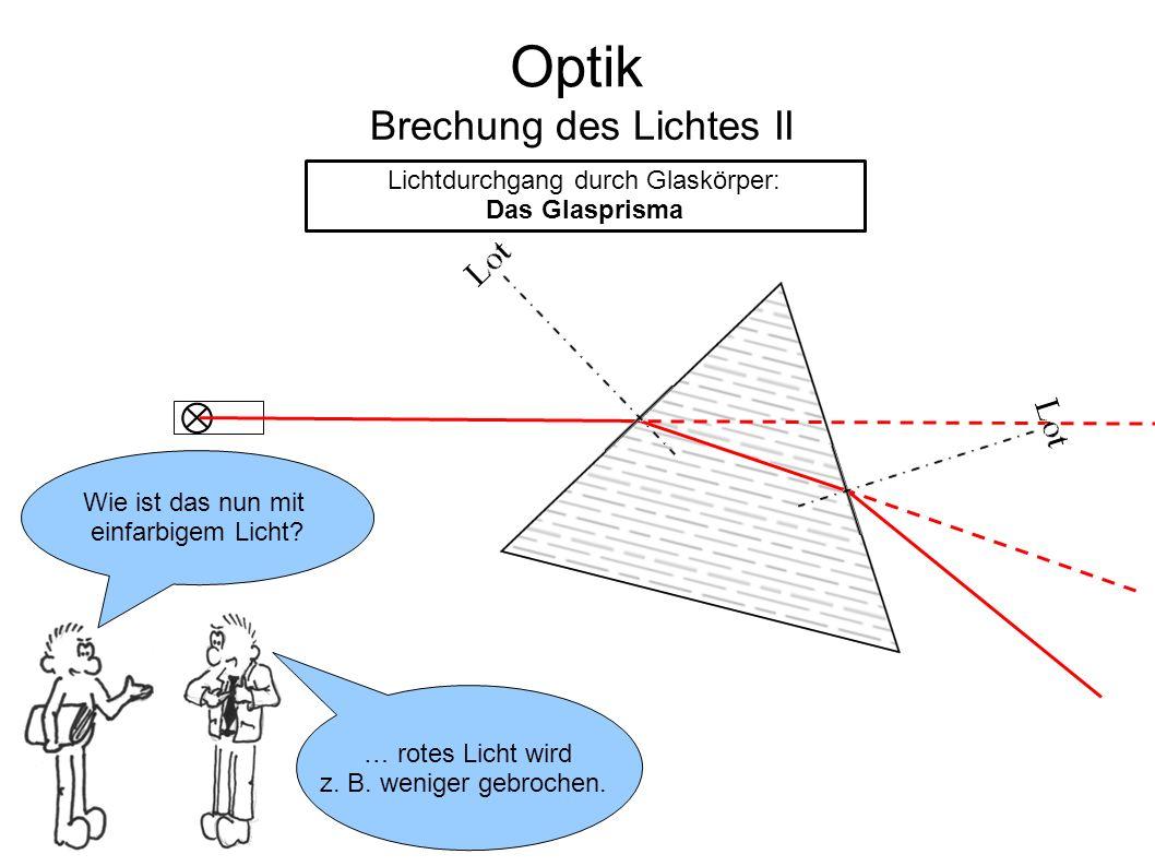 Optik Brechung des Lichtes II Lichtdurchgang durch Glaskörper: Das Glasprisma Wie ist das nun mit einfarbigem Licht? … rotes Licht wird z. B. weniger