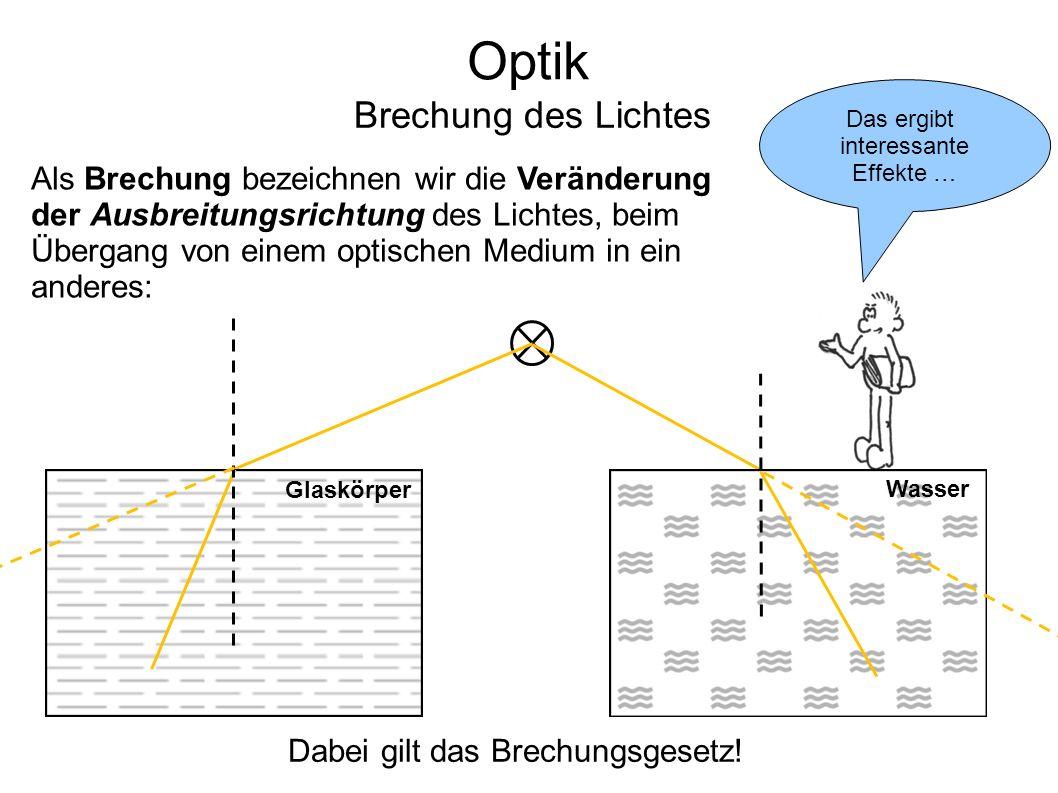 Optik Brechung des Lichtes Als Brechung bezeichnen wir die Veränderung der Ausbreitungsrichtung des Lichtes, beim Übergang von einem optischen Medium in ein anderes: Das ergibt interessante Effekte … Dabei gilt das Brechungsgesetz.