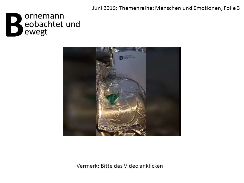 Juni 2016; Themenreihe: Menschen und Emotionen; Folie 3 B ornemann ewegt eobachtet und Vermerk: Bitte das Video anklicken