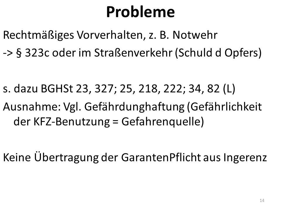 Probleme Rechtmäßiges Vorverhalten, z. B.