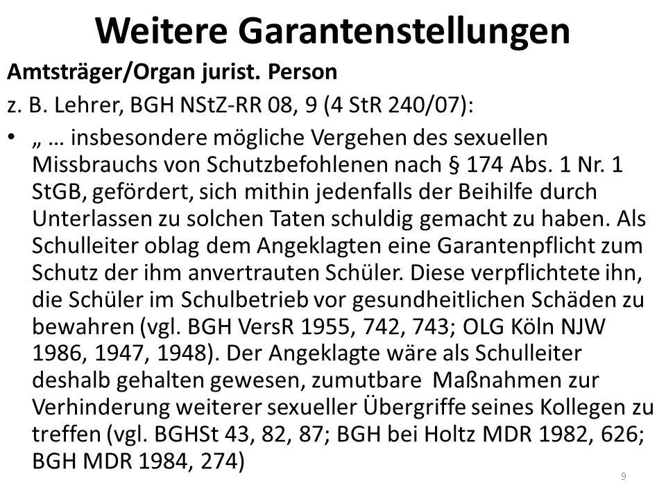 Polizisten: BGHSt 38, 388, 390 (L) Verhinderung von Prostitution durch Polizeibeamten bei außerdienstlich erlangter Kenntnis (§ 138 !) Fälle: Oury Jalloh, BGH 4 StR 473/13, Urt.