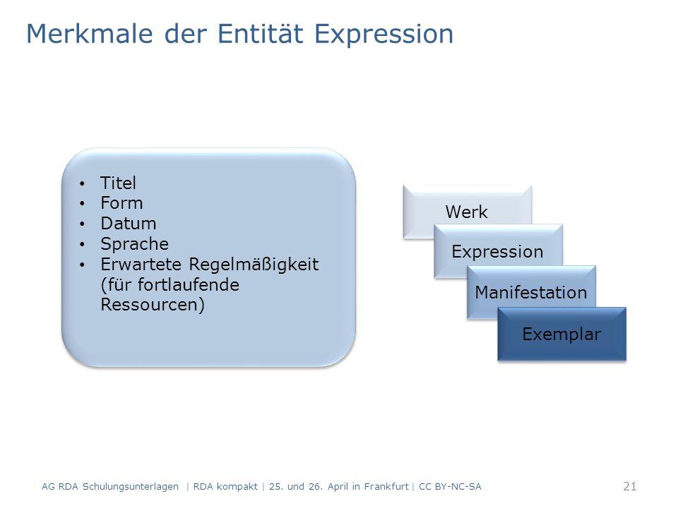 Merkmale der Entität Expression AG RDA Schulungsunterlagen | RDA kompakt | 25.